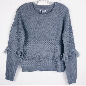 BB Dakota Mix It Up Fringe Sweater XS Gray Knit